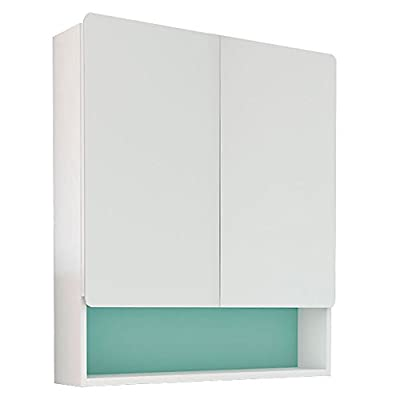 RANDALCO Happy Modern Bathroom Mirror Medicine Cabinet; White, Green, Blue, Grey | 24 x 30 x 7 - Two mirrored doors. Four color positions: white, grey, green, blue Handly made in Spain. Packed in the USA. - shelves-cabinets, bathroom-fixtures-hardware, bathroom - 31dIN8pBq0L. SS400  -
