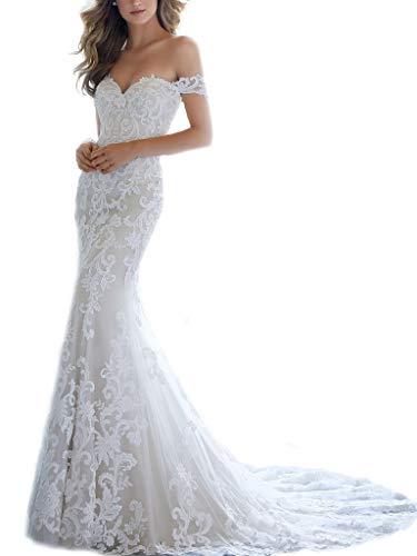 DD Bridal Women's Cap Sleeves Mermaid Wedding Dress 2019 Romantic Princess Lace Bride Dress Ivory US18W ()