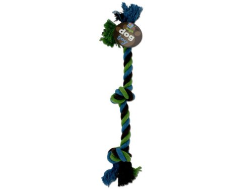 Bulk Buys DI522-72 16″ Brown Green Blue Cotton Knotted Rope Dog Toy – Pack of 72