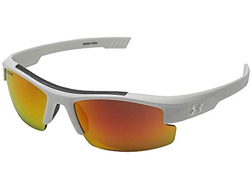 Under Armour Kids' Nitro L Storm Polarized Rectangular Sunglasses, White, 59 ()