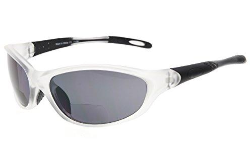 Eyekepper TR90 Frame Bifocal Sports Sunglasses Baseball Running Fishing Driving Golf Softball Hiking Sun Readers (Matte Transparent, +2.25)