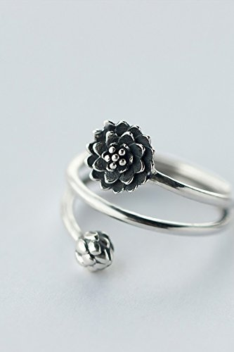 Thai Silver Flower - Generic 925_Pure_ silver Rings_ women girls _tide_ stylish retro _national_wind_personality_Thai_ silver _three-tier_lotus_ flower _Gang_index_finger