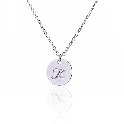 Initial Necklace Disc Charm (AOLO Letter Charm Pendant Necklace Disc Initial K Necklace)
