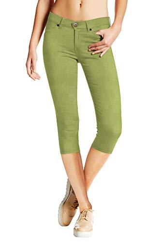 Women's Stretchy Denim Capri Jeans Q19407X SAGE 20
