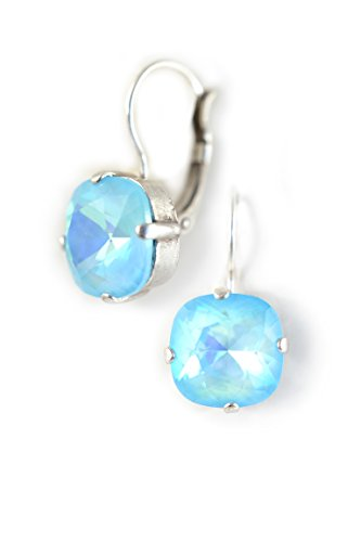 Clara Beau Ultra Fancy Bright Turq 12mm Square Swarovski Crystal SilverTone LeverBack earrings E303 SilverTone - Ultra Turq