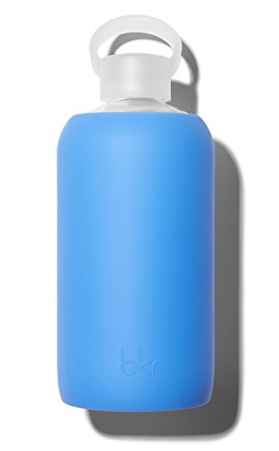 bkr Romeo Glass Water Bottle with Smooth Silicone Sleeve for Travel, Narrow Mouth, BPA-Free & Dishwasher Safe, Sheer Periwinkle Blue, 32 oz / 1 Liter