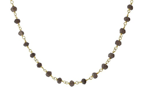 (Gold-Tone Sterling Silver Wire Smokey Simulated Quartz Bead Chain Link Handmade Rosary Necklace 14 Inches)