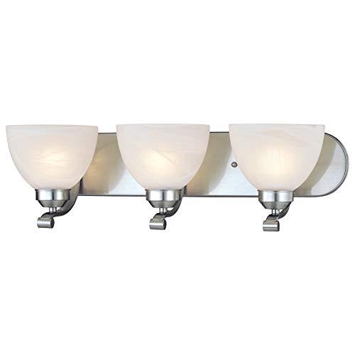 Minka Lavery Wall Light Fixtures 5423-84 Paradox Reversible Glass Bath Vanity Lighting, 3 Light, 300 Watts, Nickel