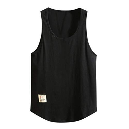 AOJIAN Men T Shirts Sleeveless T-Shirt Solid Patch Tee Shirts Tunic Blouses Vest Tank Tops Black