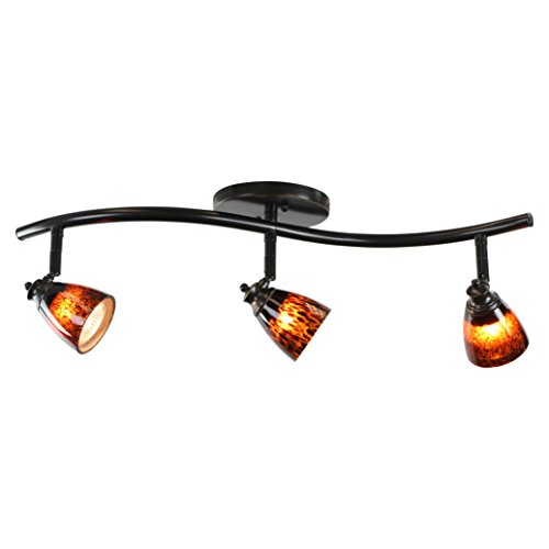 Direct-Lighting 3 Lights Adjustable Track Lighting Kit - Dark Bronze Finish - Brown Glass Track Heads - GU10 Bulbs Included. D268-23C-DB-BRNS