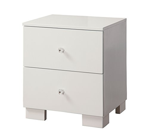HOMES: Inside + Out Iohomes Ellisan Sleek Contemporary 2-Drawer Nightstand, White, Not Applicable by HOMES: Inside + Out