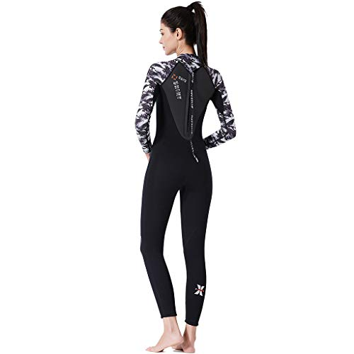 TANLANG Men Women Full Wetsuits Wetsuit Back Zip Long Sleeve for Diving Surfing Snorkeling One-Piece Wet Suit White by TANLANG (Image #1)