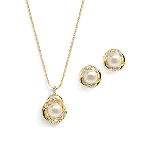 Mariell Freshwater Pearl Button Wedding Necklace and Earrings Gold Jewelry Set for Bridesmaids & Brides