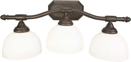 Monument 3557937 3-Light Decorative Vanity Fixture 24-3//8 X 10-1//2 X 8-5//8 in Oil Rubbed Bronze White Etched Opal Glass