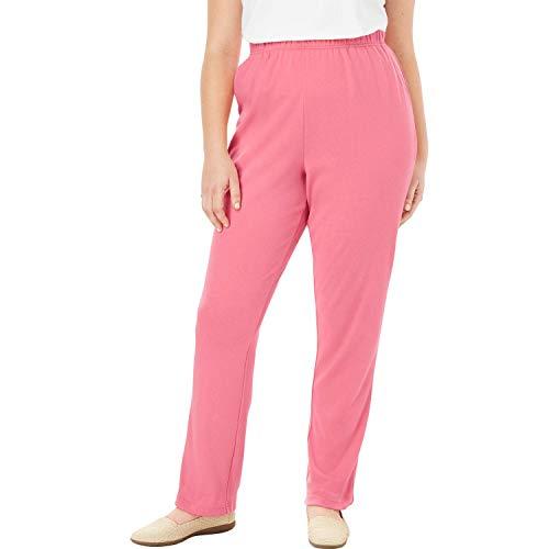 Woman Within Women's Plus Size 7-Day Knit Straight Leg Pant - Rose Mauve, M