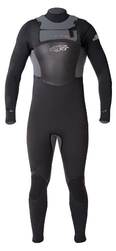 Hyperflex Wetsuits Men's Amp Surf Series 4/3mm Back Zip Full Suit,Black/Silver,X-Large Short