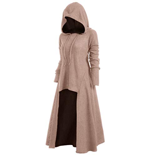 Womens Gothic Punk Asymmetric Hem Long Sleeve Loose Hoodies Dress Cloak Costumes Vintage High Low Sweatshirts Tunic Tops (Coffee, L) ()