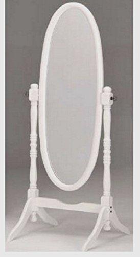 Standspiegel Ankleidespiegel Spiegel aus Holz Antik Oval 150 x 53cm (Weiß)