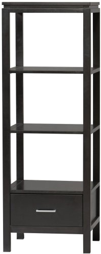 Linon Sutton Black Media - Component Shelf Tower