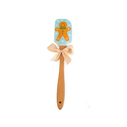 (1 Pcs Wooden Mixing Knife, Christmas Pattern Food Grade Silicone Butter Scraping, Snowman Cookie Man Santa Handle Scraper for Cake Cream)