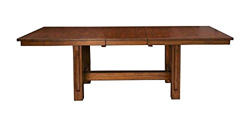 A-America Mission Hill 92inch Trestle Table with 18inch Self Storing Leaf