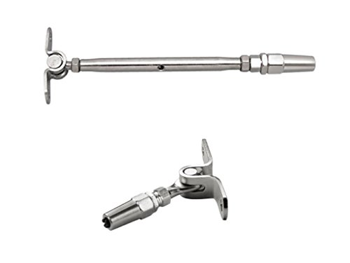 Polished Toggle - 1/8 Cable Railing Kit. Wall Mounted Toggle Swageless Tensioner Stainless Steel 316/Polished 1-Pack, Wall Mounted Toggle Swageless Terminal 1-Pack.