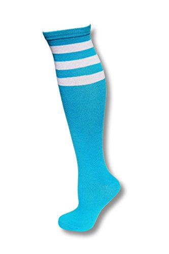 [Neon Nation Colored Knee High Tube Socks w/ White Stripes-Neon Blue] (Bright Colored Costumes)