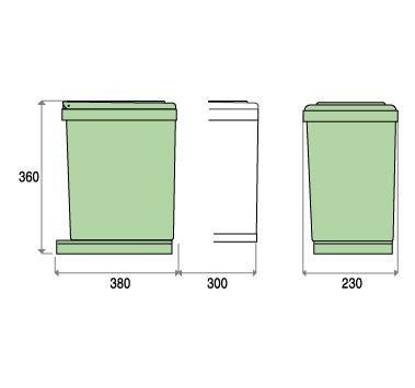 Poubelle de cuisine coulissante pour tri s/électif avec 2 compartiments de 7,5/l chacun mod/èle 283