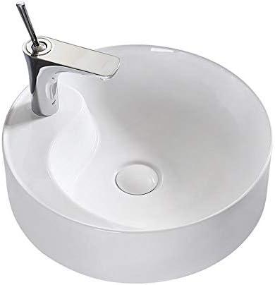 洗面ボウル 超薄型ラウンドカウンター容器シンク浴室太極拳白磁器ボウル 浴室の台所の流し (Color : White, Size : 46x46x14cm)