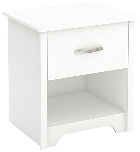 (South Shore Fusion Nightstand, Pure White with Grooved Metal Handles)
