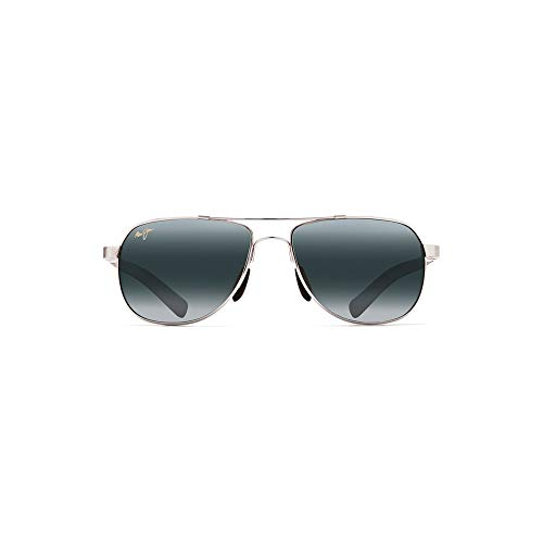 Maui Jim Guardrails 327-17 | Polarized Silver Aviator Frame Sunglasses, with with Patented PolarizedPlus2 Lens Technology