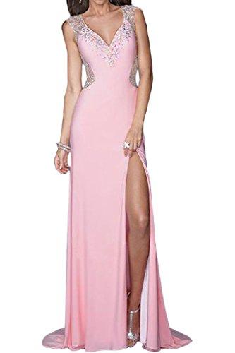 V Fashion Schleppe Steine Promkleid Festkleid Abendkleid Ivydressing Rosa Damen Ausschnitt Schlitz Partykleid xg4CRqn