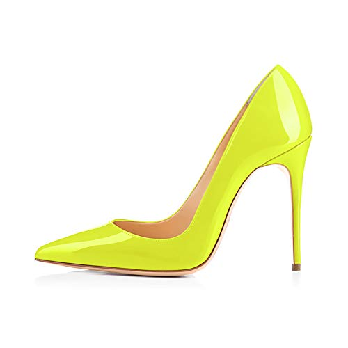 Elisabet Tang High Heels, Women Pumps Shoes 3.94 inch/10cm Pointed Toe Stiletto Sexy Prom Club Heels FY 10 Neon Yellow