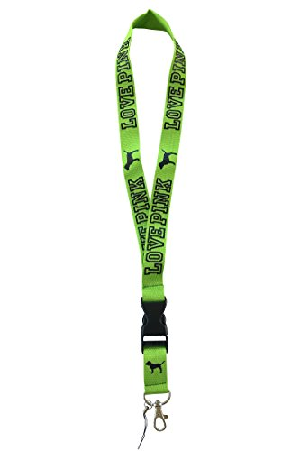 Love Pink Detachable Lanyard Green for keys cell phones clip clasp breakaway heavy duty ()