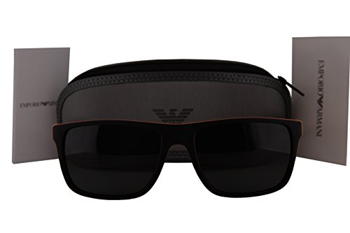 Emporio Armani EA4033 Sunglasses Top Black Orange Rubber w/Grey Lens 552987 EA - Sunglasses 2019 Top