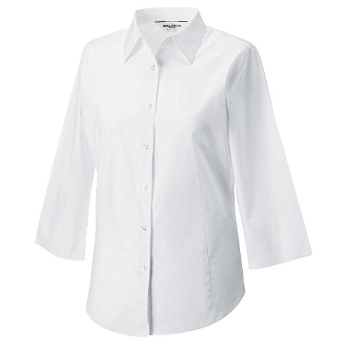 Russell Collection Ladies 3/4 sleeve fitted shirt White