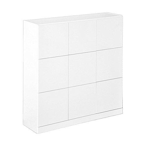 シンプルで高級感のあるスクエアキャビネット 9枚扉タイプ ホワイト(汚れに強い美しい鏡面仕上げ) B01N6SZG13 9枚扉|ホワイト ホワイト 9枚扉