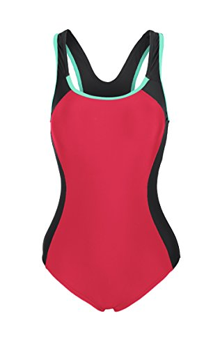 ReliBeauty Women's Backless Splice One Piece Swimsuit (Small, Red)