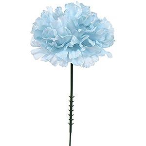 "Larksilk Blue 3.5"" Silk Carnation Flowers 5"" Stem Pick, 100 Count 54"