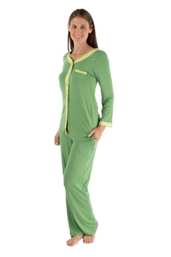 Texere Women's Long Sleeve Pajama Set (Jade, Medium/Petite) Unusual Mother's Day Gifts WB0005-JAD-MP