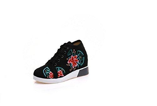 Lace Shoes Sneaker Lazutom Embroidery Women Black Chinese Style Lady up Fashion q8I8rzw