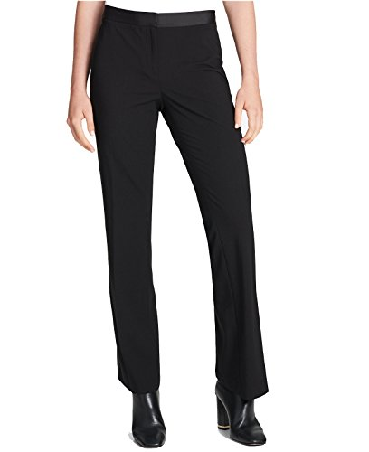 Calvin Klein Women's Satin-Stripe Pants (Black, (65 Contemporary Satin)