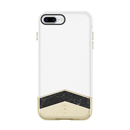 House of Harlow 1960 iPhone 7 Plus Case, Slider Case [Shock Absorbing] Cover fits Apple iPhone 7 Plus - White/Black Marble
