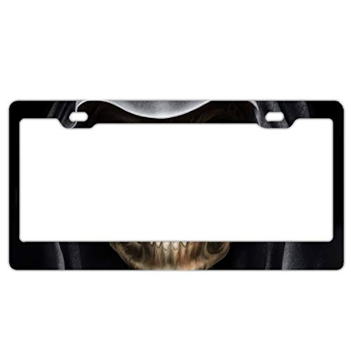 - Elvira Jasper Car License Plate Frame,Dark Grim Reaper Skull Death Alumina License Plate Covers