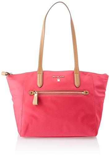 Kelsey Nylon Medium Top Zip Tote Handbag in Ultra Pink ()