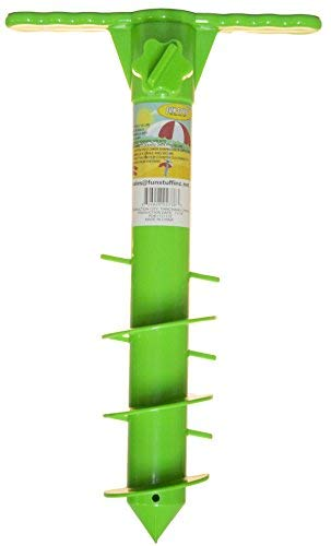 Fun Stuff 16 Inch Plastic Beach Umbrella/Tent/Fishing Pole Anchor Sand Screw (Green)