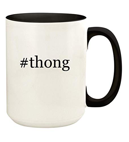 (#thong - 15oz Hashtag Ceramic Colored Handle and Inside Coffee Mug Cup, Black)