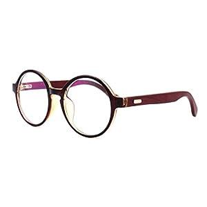Amillet Wooden Vintage Retro Round Glasses Frame Clear Lens Fashion Circle Eyeglasses 48mm Brown