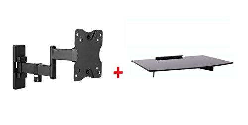Mount Plus 21-112-DV Full-Motion Tilt/Swivel Wall Mount with Bundle Single Glass shelf of DVD Player for Most 13' to 27' (VESA 100x100) LCD LED HDTV Monitor of Sony Samsung Vizio ASUS Acer HP LG Dell
