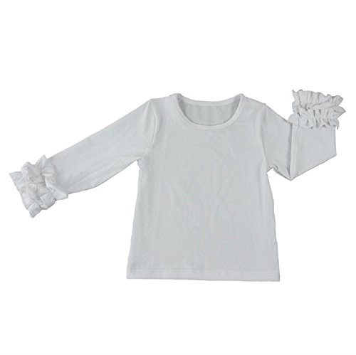 Wennikids Little Girls' Long-Sleeve Ruffle T-Shirt Medium White 01